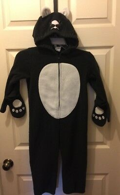 Old Navy Toddler Black Cat Plush Jumpsuit Costume 4T Hooded