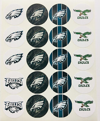 """SET of 20- 2"""" PHILADELPHIA EAGLES ADHESIVE STICKERS.Make Cupcake Toppers!"""