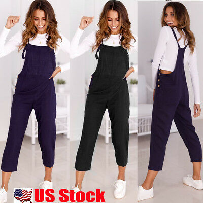Women Ladies Loose Denim Jeans Pants Overalls Straps Jumpsuit Romper Trousers US