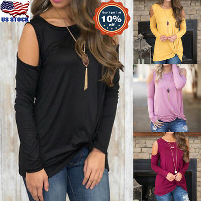 Women's Cold Shoulder Crew Neck Cut Out Long Sleeve Sweater Tops Blouse Shirt US
