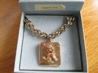 VINTAGE Swiss MUSIC BOX MUSICAL BRACELET WITH POODLE DOG DESIGN in box-works