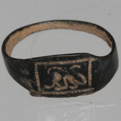 Ancient Greek Bronze stamp ring With a lion  Circa 300-100 BC
