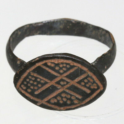 Crusaders Era Bronze Ring with CARVED DESIGNS Circa 1000-1300 AD