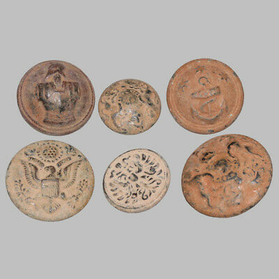 Lot of 6 large uniforms bronze Buttons Circa 1700-1850 AD