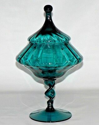 Vtg Empoli Italy Teal Blue Twisted Stem Art Glass Covered Compote