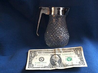 vintage glass syrup dispenser featuring a diamond design -excellent no chips