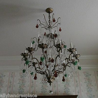 Antique Vintage French Crystal Directoire Fruit Chandelier 12 Light Huge