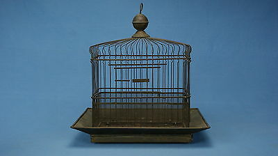 Antique HENDRYX BRASS BIRD CAGE RECTANGLE HEART DESIGN COVERS  & BRASS STAND
