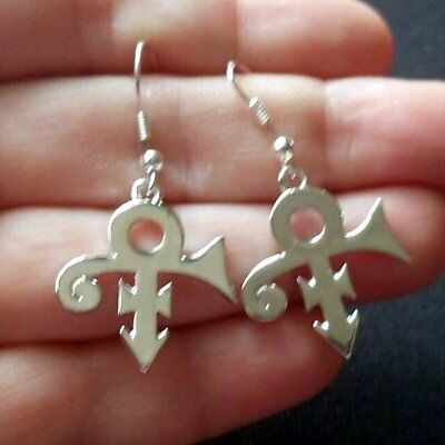 PRINCE LOVE SYMBOL SILVER PL DANGLE EARRINGS O(+> Rogers Nelson~Dangly~Necklace