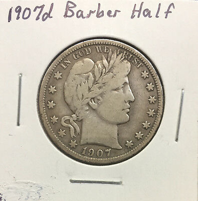 1907 D Barber Half Dollar ~ Strongly Detailed Original Coin