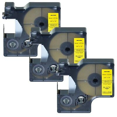 "3PK 18431 Black on Yellow Vinyl Label 3/8"" for DYMO RHINO 4200 5200 6000 Printer"