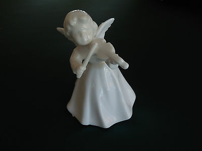 "beautiful vintage  porcelain 4""angel playing the violin or fiddle,Midwest, Japan"