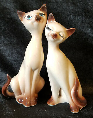 "NAPCO SIAMESE CAT Figurines, NAPCOWARE Pair of Porcelain Vintage, Japan 8"" Tall"