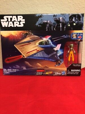 """Star Wars Rebels HERA SYNDULLA'S A-WING  Vehicle + 3.75"""" Action Figure Nerf NEW"""