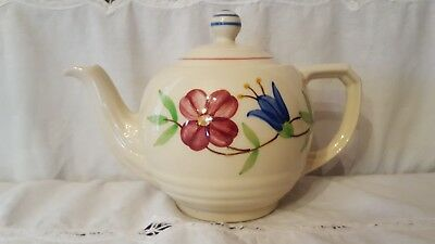 Vintage Shawnee pottery Teapot Red and Blue Flowers with Green Leaves