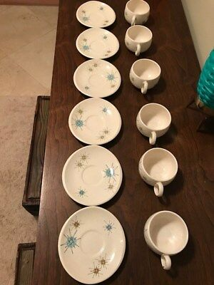 6Franciscan Atomic Starburst Cups And Saucers MCM Vintage Retro China