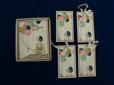 Antique Art Deco Game Score Card Book W/Box & Matching Tags