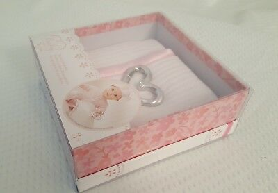 Baby So Sweet, Knit Doll Blanket with Silver Heart Rattle, Nursery Gift Set