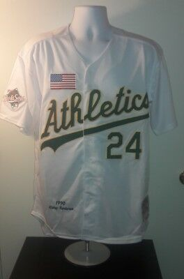Rickey Henderson 1990 Oakland As Mitchell and Ness World Series Retro Jersey  L 1d9c0d106