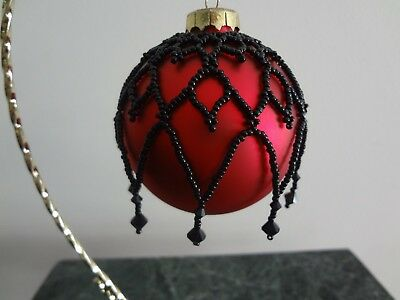 Hand Beaded Victorian Style Christmas Ball Cover Net Ornament