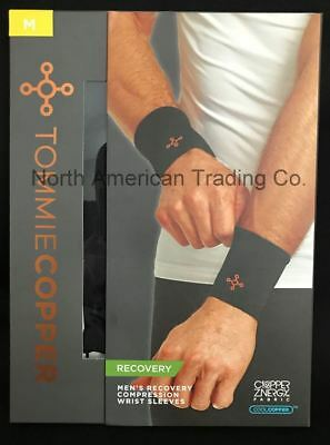 Tommie Copper Men's Recovery Compression Wrist Sleeves - Medium/Black