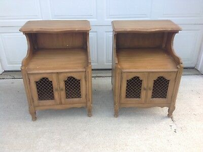 Davis Cabinet Company Pair French Provincial Wood Nightstands Tables Metal Doors