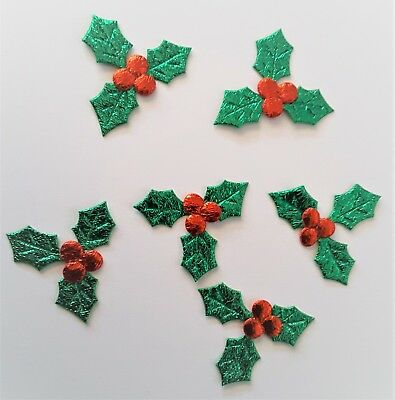Green Christmas Holly Red Berries DIY Craft Supplies Small 20 Pack Ivy Leaves