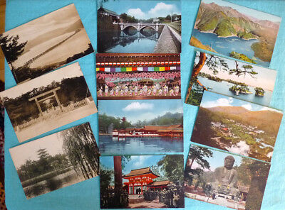 Lot of 16 Vintage Postcards: Japanese Govt Railways, Early 1900s, Color, Sepia