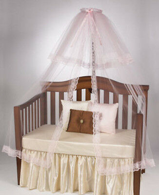 Girl's White Toddler Baby Nursery Halo Bed Mosquito Crib Net Canopy Only