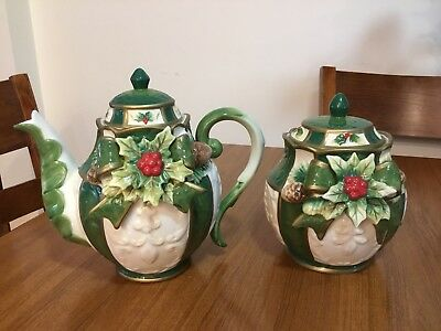 Christmas Teapot And Lolly Jar