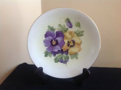 Vintage T&V Limoges France Purple & Yellow Pansy Plate