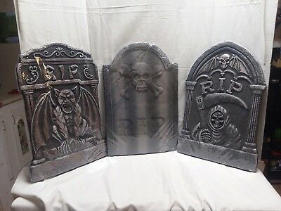 Halloween Foam Tombstone LOT 3 Yard Decor Party RIP Grimm Reaper Gargoyle NEW