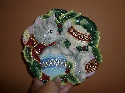 "Fitz and Floyd Kristmas Kitty 9"" Christmas Cat Canape Plate Excellent Condition"