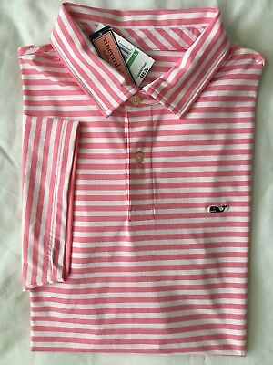 1a6e1d1164 VINEYARD VINES Mens Performance Polo Golf Shirt Pink White Stripe NWT LARGE  XL