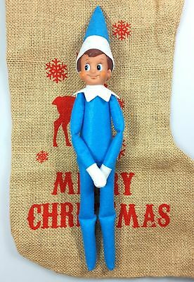 Christmas Elf Blue Boy Soft Toy Decoration Excellent Condition USED