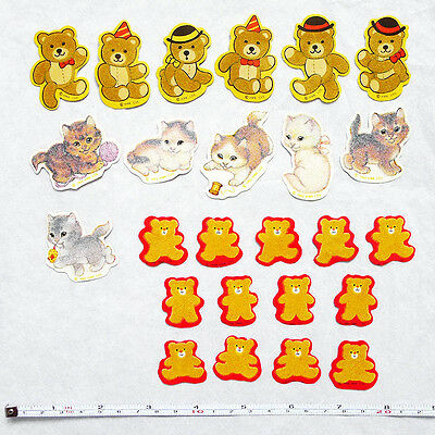 25 Lot/Pc VINTAGE 1980s HALLMARK Fuzzy Bears & Kittens/Cats Scrapbook Stickers