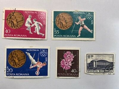 Old Vintage Posta Romana Romania 76 Montreal Canada Olympics Postage Stamp Lot G