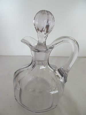 """Antique Victorian Sun Violet 6"""" Panel Hand Made Cruet And Stopper"""