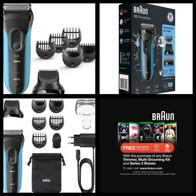 Braun 3 in 1 Electric Wet & Dry Shaver mens Mustache Groomer razor Trimmer NEW