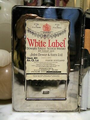 WHISKY-1998WHITE LABEL DEWAR'S STAINLESS STEEL FLASK 40° 1.6cl LIMITED EDITION