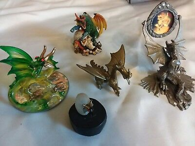 Dragon Lover Collection Pewter Hologram Green Glass Hatchling Gold Crystal Ball
