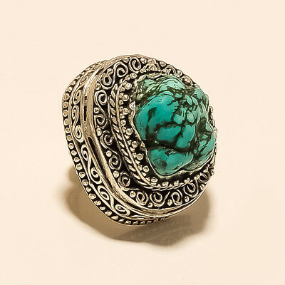 Natural Turquoise Afghani Ring Unisex Vintage Antique Silvertone Fashion Jewelry
