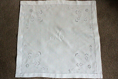 Vintage white linen square cloth with cutwork and hand embroidered letter M.