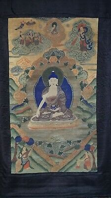 Stunning Old Antique Tibetan Tibet Thangka Painting Buddhist Buddha White thanka