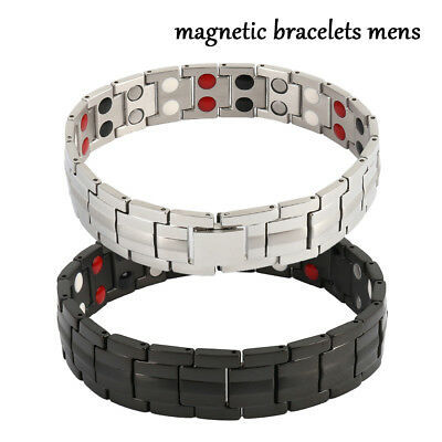 Mens Titanium Double Row Magnetic Therapy Bracelet Pain Relief For Arthritis