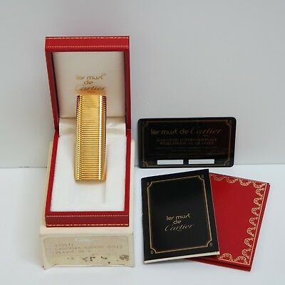 Nuovo - Accendino Les Must De Cartier Ovale Plaque Oro - Briquet Lighter New