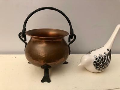 SMALL Vintage HAMMERED Copper POT Wrought IRON Cauldron Made in GERMANY QZZQ SA