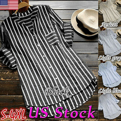 Women Button Down Lapel V Neck Striped Shirt 3/4 Sleeve Tunic Blouse Loose Top