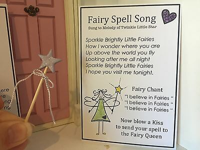 Fairy Door Accessories - Miniature Fairy Wand & Fairy Spell Song - Handmade