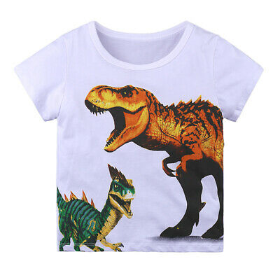Toddler Kids Boys T-shirt Tops Baby Outfits Dinosaur Summer Clothes 1-6Years